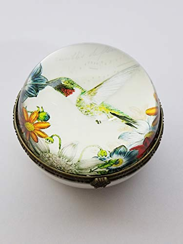 Backwoods Lighting LLC Hummingbird Trinket, Stash, Jewelry Box. Keep Your Treasures in This 3.25 inches Round Box with Fairy Flower Garden Hummingbird (Globe Stash)