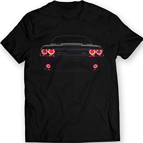 Challenger SRT Muscle Racing Car Dodge T-Shirt 100% Cotton (L, Black)