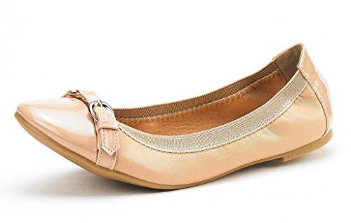 DREAM PAIRS Women's Sole-Flex Ballerina Walking Flats Shoes Nude-b