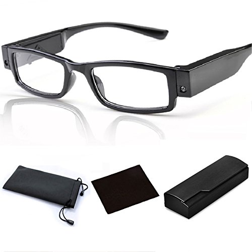 Men Women LED Bright Readers Reading Glasses with Light Magnifier Nighttime Reader Clear Vision Lighted Eye Glasses including Eyewear Case, Black (1.00)