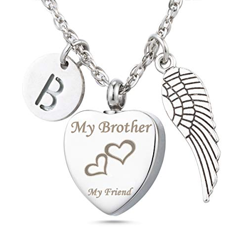 Cremation Urn Necklace My Brother My Friend Angel Wing Charms 26 Initial Letter Alphabet B Memorial Keepsake Pendant Ash Jewelry (A Letter To My Brother In Heaven)