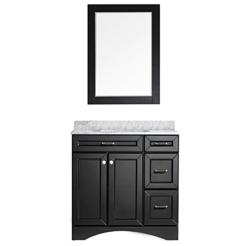 Vinnova 710036-ES-CA Modern Naples 36 inch Vanity In Espresso with Carrera White Marble Countertop with Mirror, price