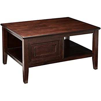 dark brown coffee table. Ashley Furniture Signature Design - Larimer Coffee Table Cocktail Height Rectangular Dark Brown