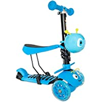 Hapsters SCOOTTI 3-in-1 Kick Scooter with Removable Seat Great for Kids & Toddlers Girls or Boys – Adjustable Height PU Flashing Wheels for Children from 3 to 10 Year-Old