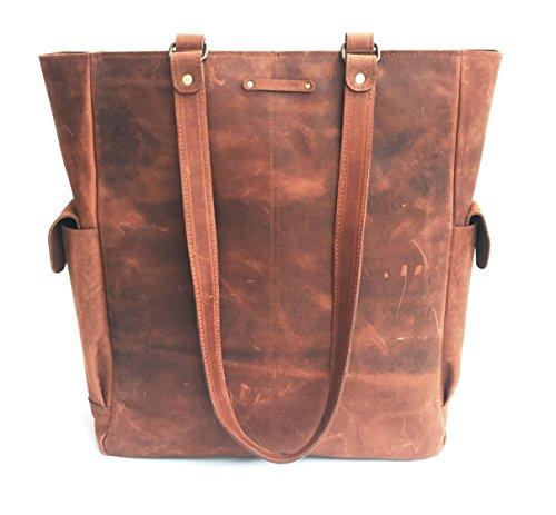 - Chalk Factory Natural Leather Vintage Vertical Large Tote Bag For Women Handbag/shoulder bag (brown)