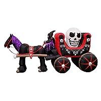 BZB Goods 12 pies de largo Halloween Carro inflable con esqueleto Fantasma Cráneo Luces LED Decoración al aire libre Interior Decoraciones navideñas, Inflar decoración de patio iluminado, Césped Inflables Hogar Familia Exterior