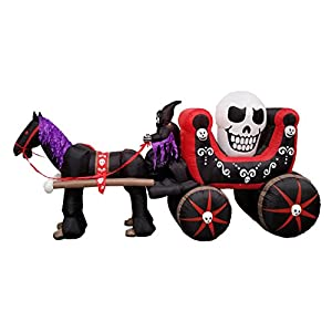 BZB Goods 12 Foot Long Halloween Inflatable Carriage with Skeleton Ghost Skull Lights Decor Outdoor Indoor Holiday…