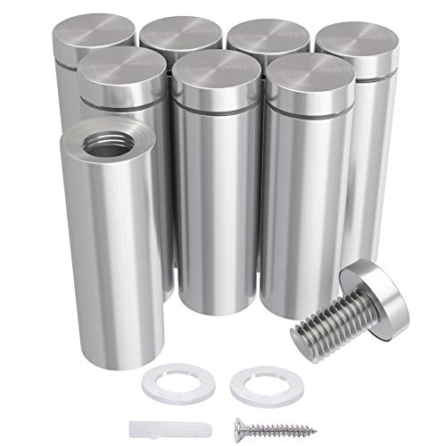 LuckIn 0.5 in Dia x 3.15 in L Sign Standoffs Mounting Hardware, Stainless Steel Standoffs (12 Pack)