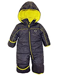 iXtreme Baby Boys Plaid Expedition One Piece Puffer Winter Snowsuit Bunting Pram, Charcoal, 24 Months
