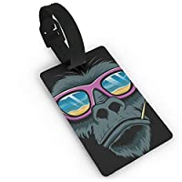 Homlife Cool Gorilla Head with Sunglasses PVC Travel Luggage Tag with Strap for Baggage Bag/Suitcases - Business Card Holder Name ID Labels Set for Travel