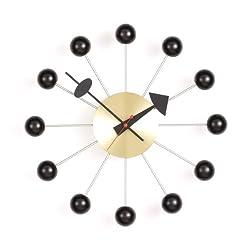 Vitra Men's George Nelson Ball Clock, Black/Brass, One Size