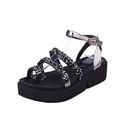 Summer Sandals, Inkach Women Gladiator Flat Rhinestone Sandals Summer Shoes Black