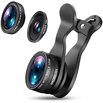 OldShark 3 in 1 HD Universal Fisheye Lens & Macro Lens & Wide Angle Lens, 360 Degree Rotate Shark Tail Long Clip Cell Phone Camera Lens Kits for iPhone 7/7 Plus, Samsung & Most Smartphones【Upgraded S1】