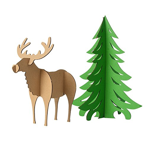 Paper Maker DIY Simple Reindeer and Tree Christmas Ornaments for Kids (Simple Reindeer,Green -
