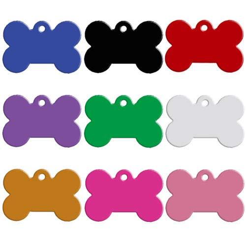 FidgetGear 100pcs/Lot Wholesale Bone Shape Blank Dog Tag Anodized Aluminum Bulk Tags S M L Mixed Color M: 40271MM from FidgetGear