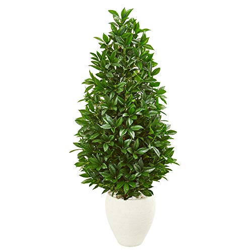 Cone Bay - Nearly Natural 9371 4.5-Ft. Bay Leaf Cone Topiary Artificial UV Resistant in White Planter (Indoor/Outdoor) Silk Trees Green
