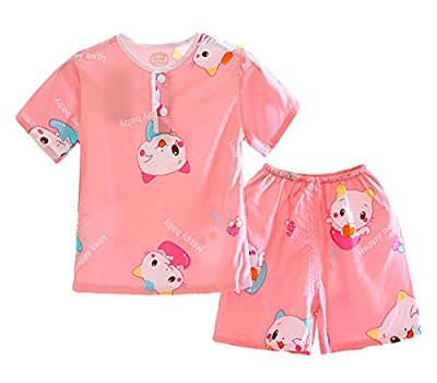 LLIOFUS Little Boys$Girls 2ps Soft Cotton Sleepwear Summer Kid Pajamas sets