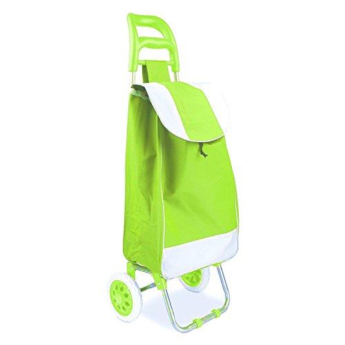 Lightweight Wheeled Trolley (Minel Rolling Cart, Wheeled/Folding Shopping Cart, Green)