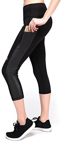 - Hihihappy Fashion Women's Pants Workout Capri Running Tights w Side Pockets (XS-XL) BlackMedium