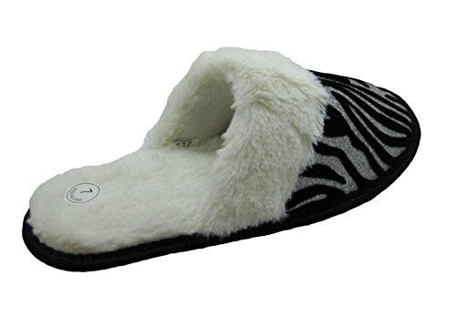 Ciabattine Di Casa Stampate Blu Frizzante Animali Moda W / Soffici Inserti In Pelliccia Sintetica Per Le Donne Zebra