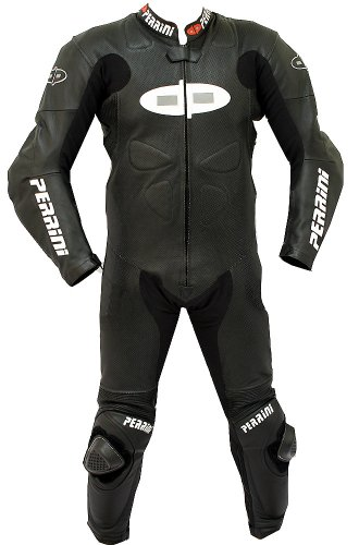 1pc Perrini Fusion Motorcycle Riding Racing Leather Suit w/Padding & Hump Black -