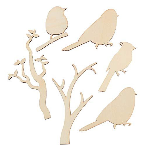 Factory Direct Craft Unfinished Wood Branch and Bird Cutouts | 36 Pieces ()
