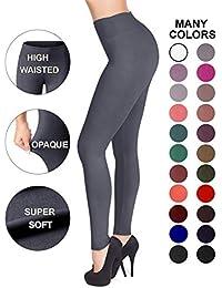 High Waisted Leggings - 25 Colors - Super Soft Full Length Opaque Slim
