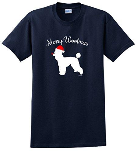 Dog Lover Gifts Merry Woofmas Dog Santa Hat Poodle Christmas T-Shirt Large Navy