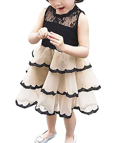 NNJXD Girl Lace Sleeveless Ruffles Tutu Party Dress Size (130) 5-6 Years Champagne