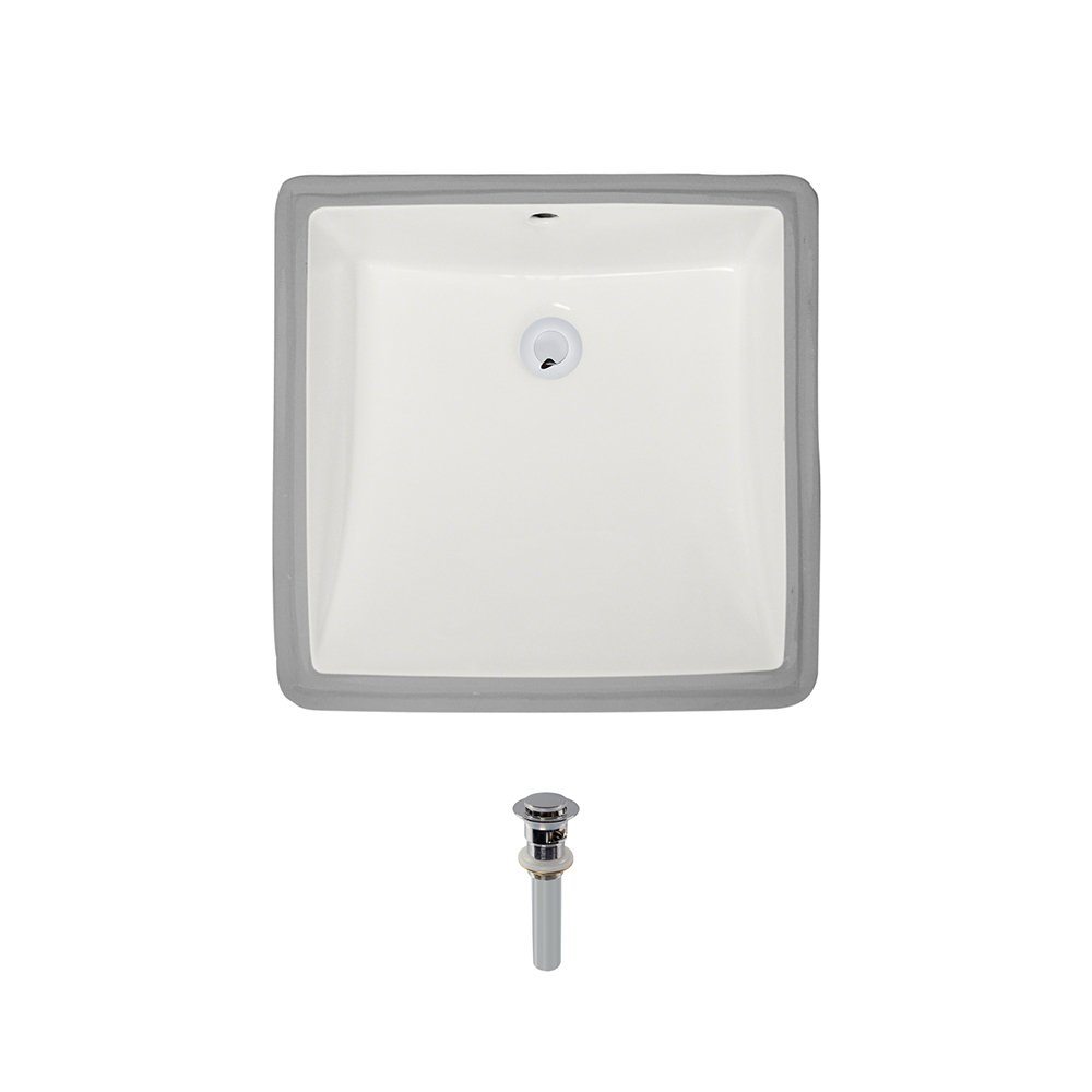 U2230-Bisque Undermount Porcelain Bathroom Sink Ensemble, Chrome Pop-Up Drain