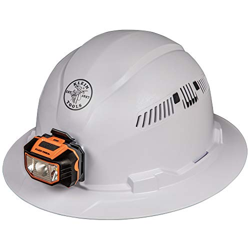 - Klein Tools 60401 Hard Hat, Vented Full Brim Style, Padded, Self-Wicking Odor-Resistant Sweatband, White