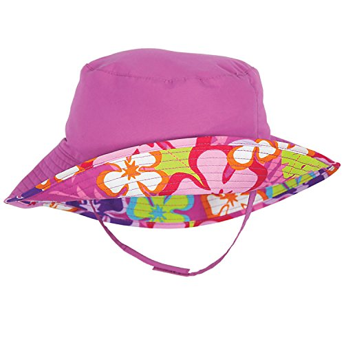 Raspberry Pink and Floral Reversible Baby Girl Sunhat by Sun Smarties - Large (Hats Ahead)