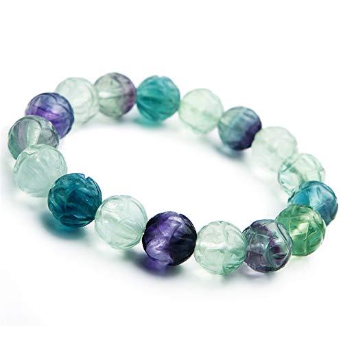LiZiFang Natural Fluorite Fluorspar Crystal Stretch Round Bead Bracelet 12mm