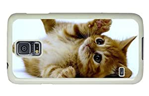 Hipster Samsung Galaxy S5 Case protective cover cuddle kitten PC White for Samsung S5