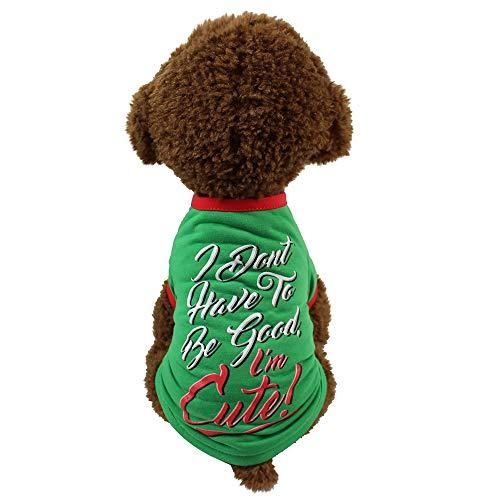Naladoo Pet Dog Christmas T-Shirt Clothes Puppy Letter Print Sweatshirt Costumes -