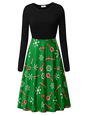 Naggoo Women's Long Sleeve Crew Neck Casual Flared Printed Halloween Pumpkin Dress