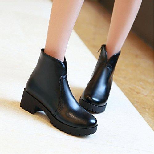 con botas Black estudiantes cilindro gruesa Invierno Otoño botas con ZQ e viento universitarios cabeza redonda el hembra QX corto salvaje wqa7fCP
