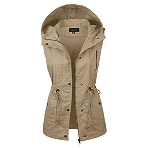 makeitmint Women's Hooded Utility Pocket Anorak Jacket Vest [S-3XL/9 Colors] YJV0018-43KHAKI-MED