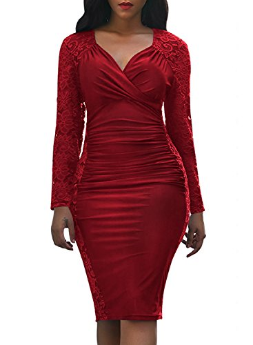- Domy Women's Formal Bodycon Dress Floral Lace Panel Ruched Sheath Dress (S, Burgundy)