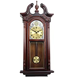Bedford Clock Collection 38 Grand Antique Chiming Wall Clock with Roman Numerals in a in a Cherry Oak Finish
