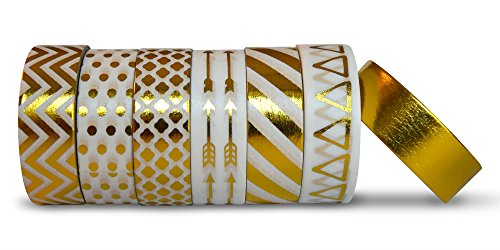 AIM HOBBIES Washi Masking Tape Set of 6 PLUS FREE BONUS ROLL (Gold 1) by Aim Hobbies
