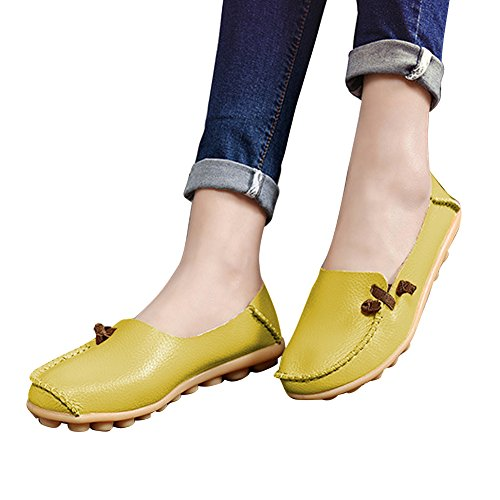 Blivener Damesschoenen Casual Loafers Wandelcomfort Zomerpantoffels Yellowgreen