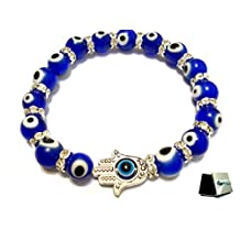 Turkish Murano Evil Eye Bracelet With Protection Hamsa Hand Stretch