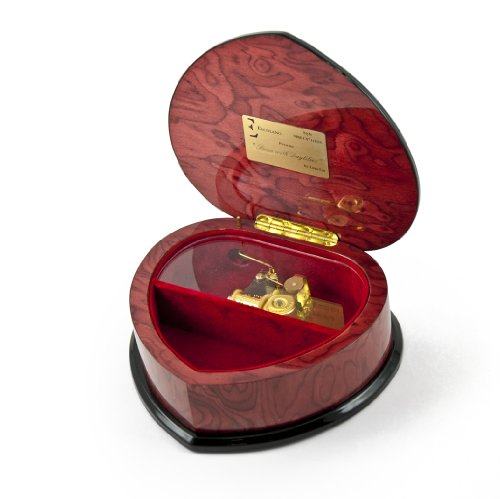 Elegant Heart Shape Painted Ercolano Music Jewelry Box Titled - Swan and Daylilies by Lena Liu - There is No Business Like Show Business by MusicBoxAttic (Image #2)