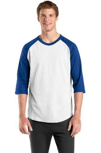 Sport-Tek T200/YT200 - Men's Or Youth Raglan 3/4 Sleeve 100% Cotton Baseball Tee Shirt
