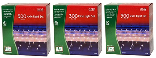Wonderland's 300 Icicle Light Set (Pack of 3) (Icicle 3 Light)