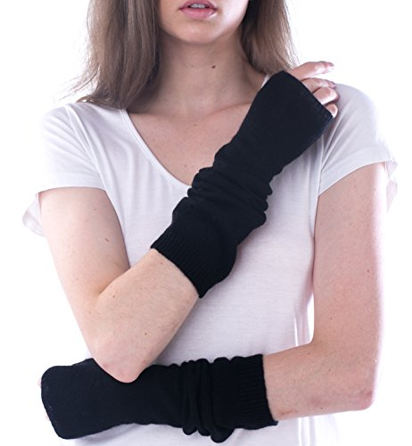 cashmere 4 U Womens 100% Cashmere Long Sleeve Fingerless Mitten Gloves