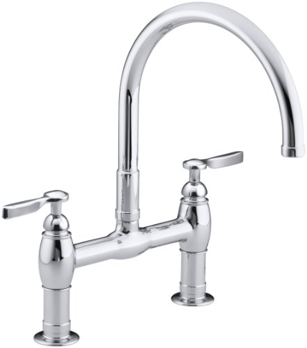 KOHLER K-6130-4-CP Parq Deck-Mount Kitchen Bridge Faucet, Polished Chrome