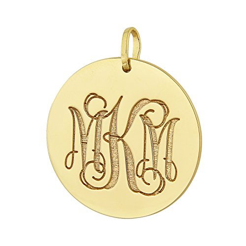 14K Solid Yellow Gold 1 Inch Disc 3 Initial Circle Monogram Charm Pendant Deep Laser Engraved GC09 ()