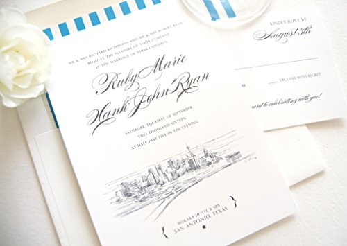 San Antonio Skyline Wedding Invitations Package (Sold in sets of 10 Invitations, RSVP Cards and Envelopes) -